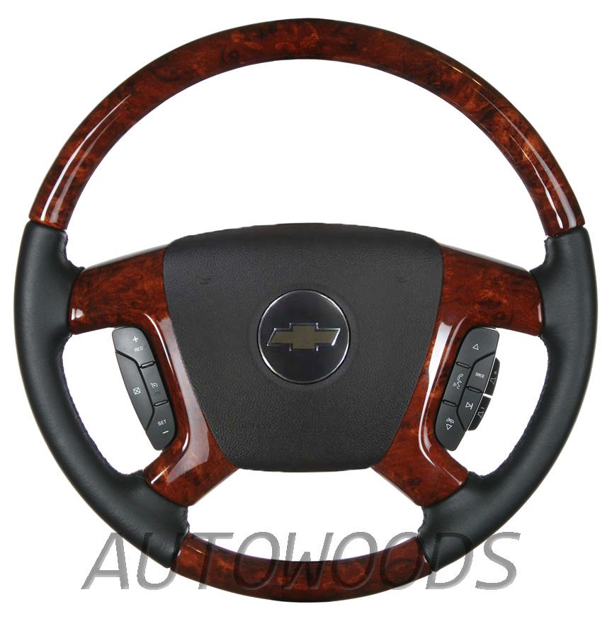 Wood Leather Oem Steering Wheel For 2007 2008 2009 Accessory Trim Kit Chevrolet Gmc Silverado Tahoe Suburban Avalanche Sierra Yukon Burl Ling Flaking